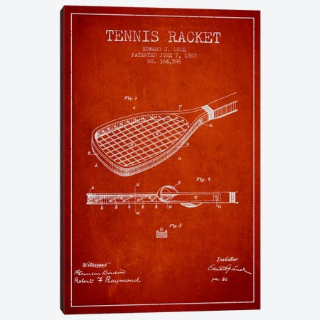 Tennis Racket Red Patent Blueprint Canvas Print #ADP2298} by Aged Pixel Canvas Print