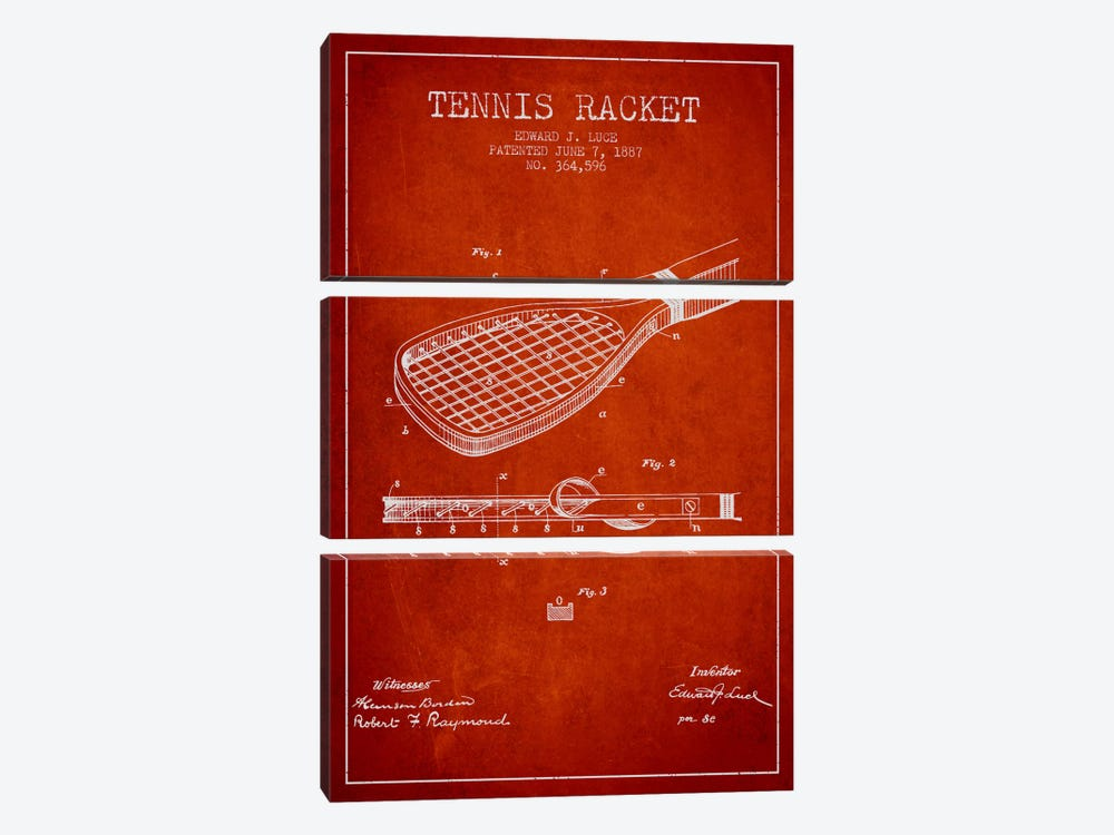 Tennis Racket Red Patent Blueprint by Aged Pixel 3-piece Canvas Wall Art