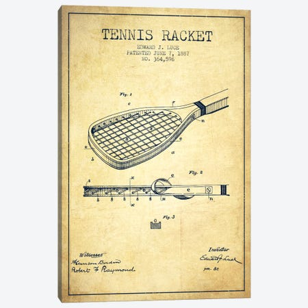 Tennis Racket Vintage Patent Blueprint Canvas Print #ADP2299} by Aged Pixel Art Print