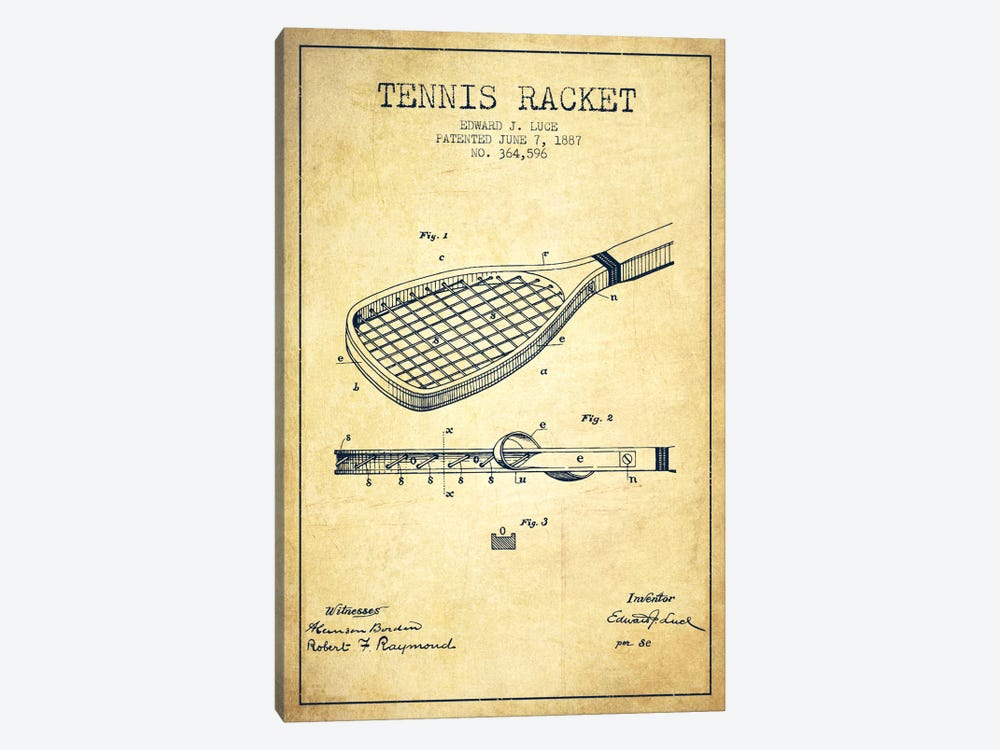 Tennis Racket Vintage Patent Blueprint by Aged Pixel 1-piece Canvas Art Print