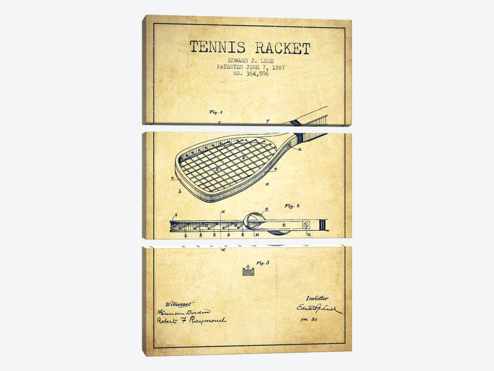 Tennis Racket Vintage Patent Blueprint by Aged Pixel 3-piece Canvas Print