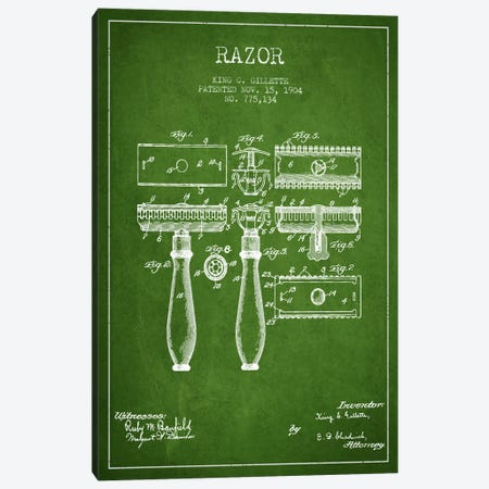 Razor Green Patent Blueprint Canvas Print #ADP229} by Aged Pixel Art Print