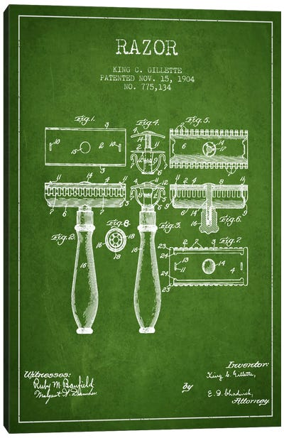 Bathroom blueprints canvas artwork icanvas razor green patent blueprint canvas art print malvernweather Images