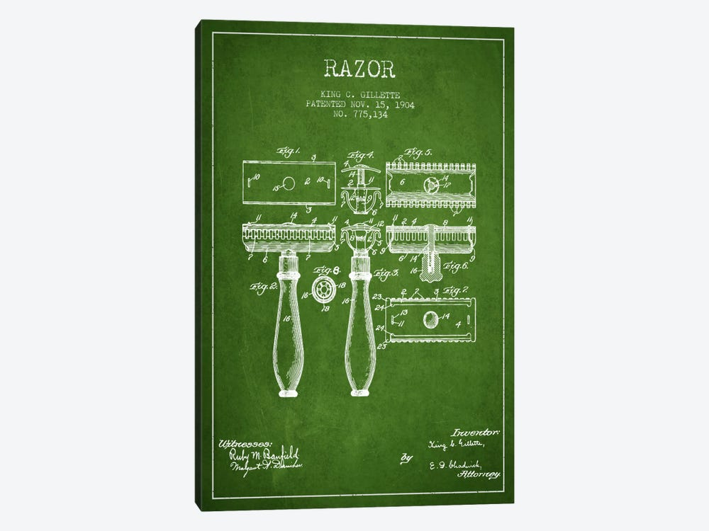 Razor Green Patent Blueprint by Aged Pixel 1-piece Canvas Art Print