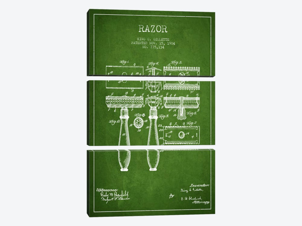 Razor Green Patent Blueprint by Aged Pixel 3-piece Art Print