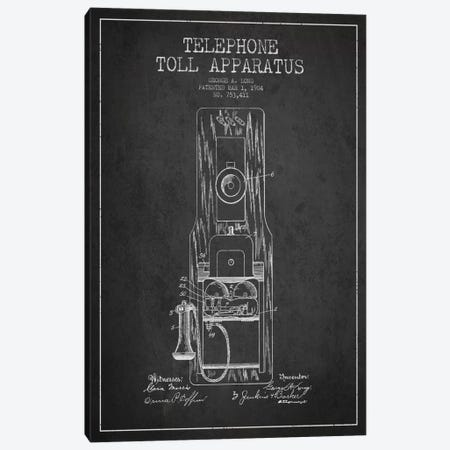 Long Telephone Toll Dark Patent Blueprint Canvas Print #ADP22} by Aged Pixel Canvas Art