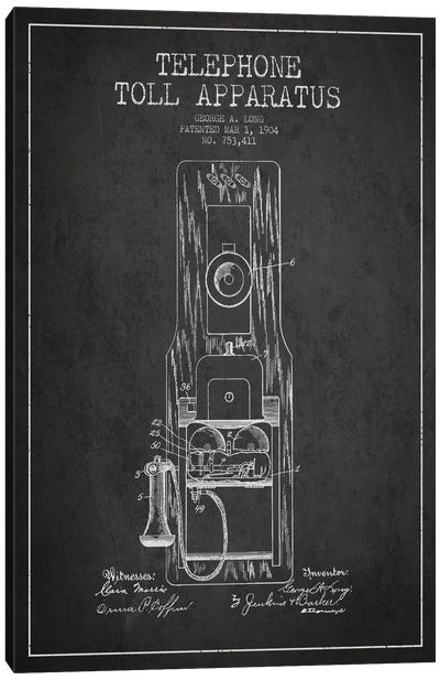 Long Telephone Toll Dark Patent Blueprint Canvas Art Print
