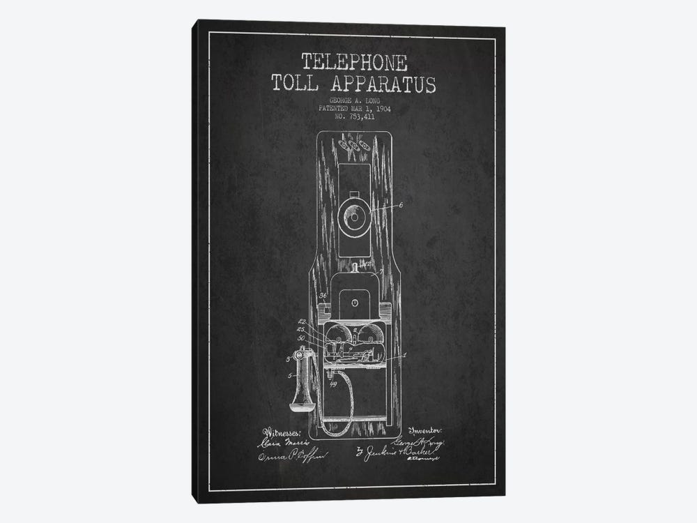 Long Telephone Toll Dark Patent Blueprint by Aged Pixel 1-piece Art Print