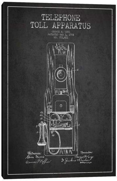 Long Telephone Toll Dark Patent Blueprint Canvas Art Print