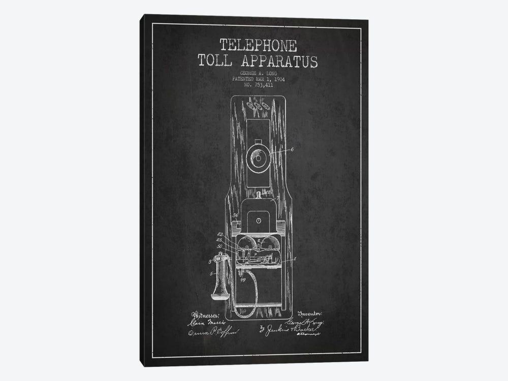 Long Telephone Toll Dark Patent Blueprint by Aged Pixel 1-piece Art Print