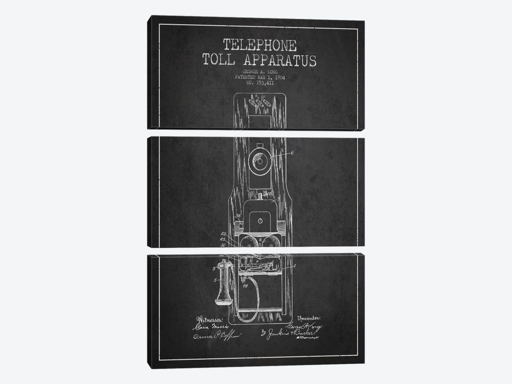 Long Telephone Toll Dark Patent Blueprint by Aged Pixel 3-piece Art Print
