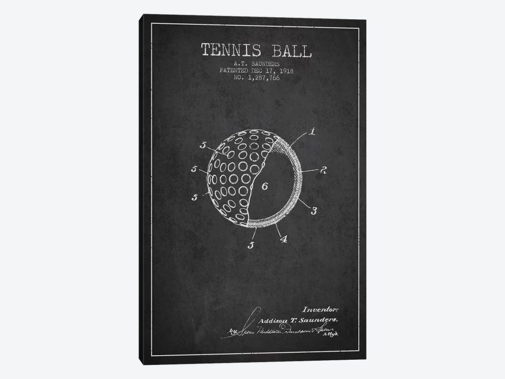 Tennis Ball Charcoal Patent Blueprint by Aged Pixel 1-piece Canvas Wall Art