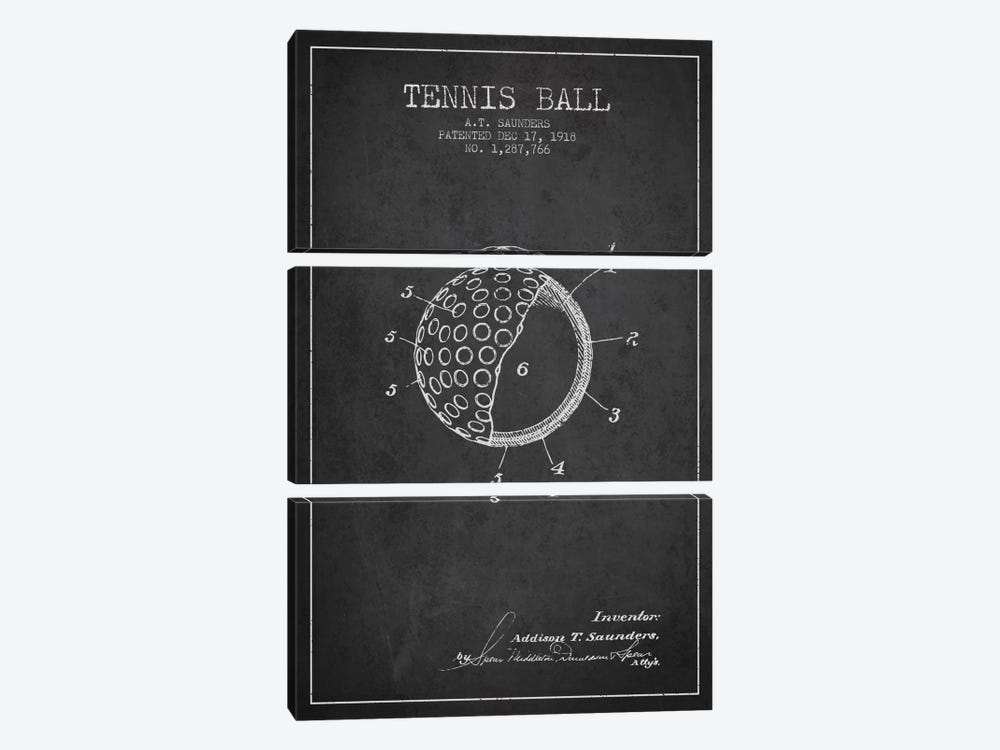Tennis Ball Charcoal Patent Blueprint by Aged Pixel 3-piece Canvas Art