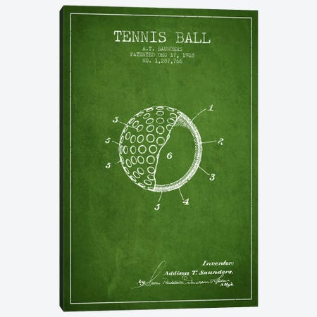 Tennis Ball Green Patent Blueprint Canvas Print #ADP2301} by Aged Pixel Art Print