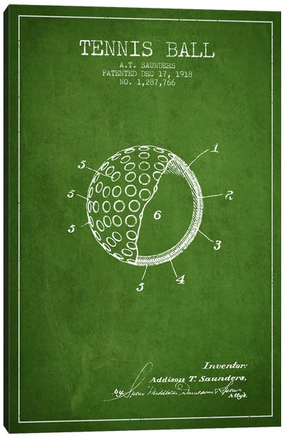 Tennis Ball Green Patent Blueprint Canvas Art Print