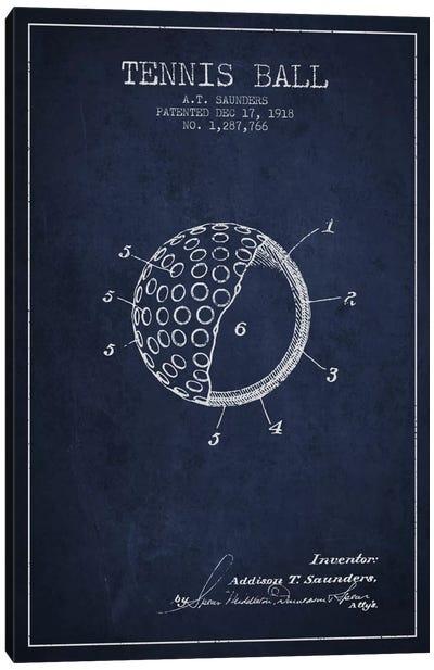 Tennis Ball Navy Blue Patent Blueprint Canvas Print #ADP2302