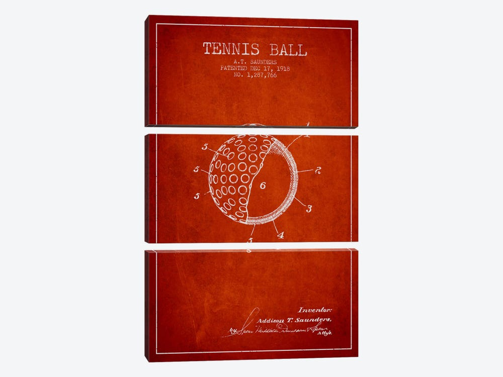 Tennis Ball Red Patent Blueprint by Aged Pixel 3-piece Canvas Art Print