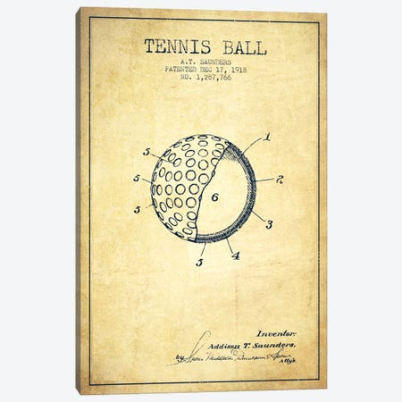 Tennis Ball Vintage Patent Blueprint Canvas Print #ADP2304} by Aged Pixel Canvas Art