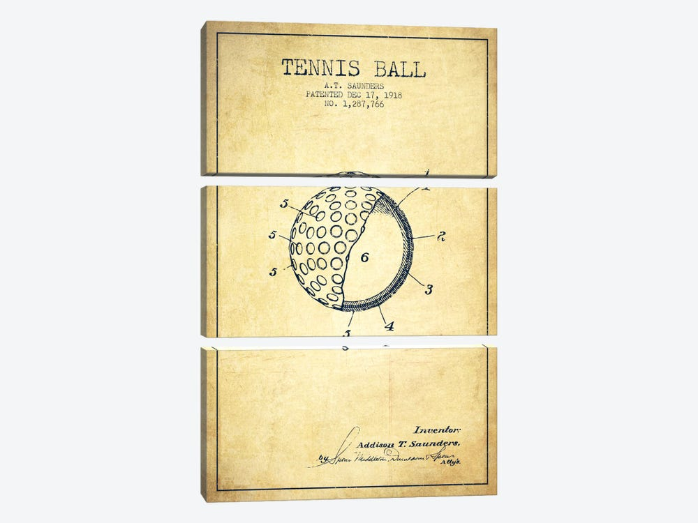 Tennis Ball Vintage Patent Blueprint by Aged Pixel 3-piece Canvas Wall Art