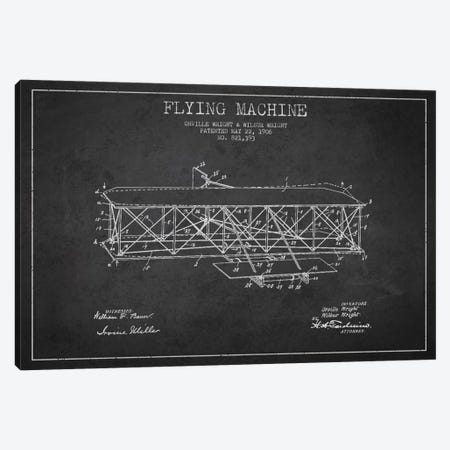 Airplane Charcoal Patent Blueprint Canvas Print #ADP2305} by Aged Pixel Canvas Art