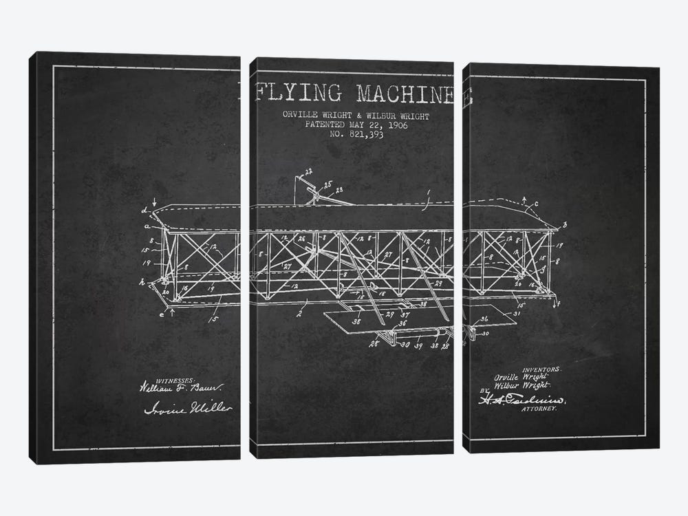 Airplane Charcoal Patent Blueprint by Aged Pixel 3-piece Art Print
