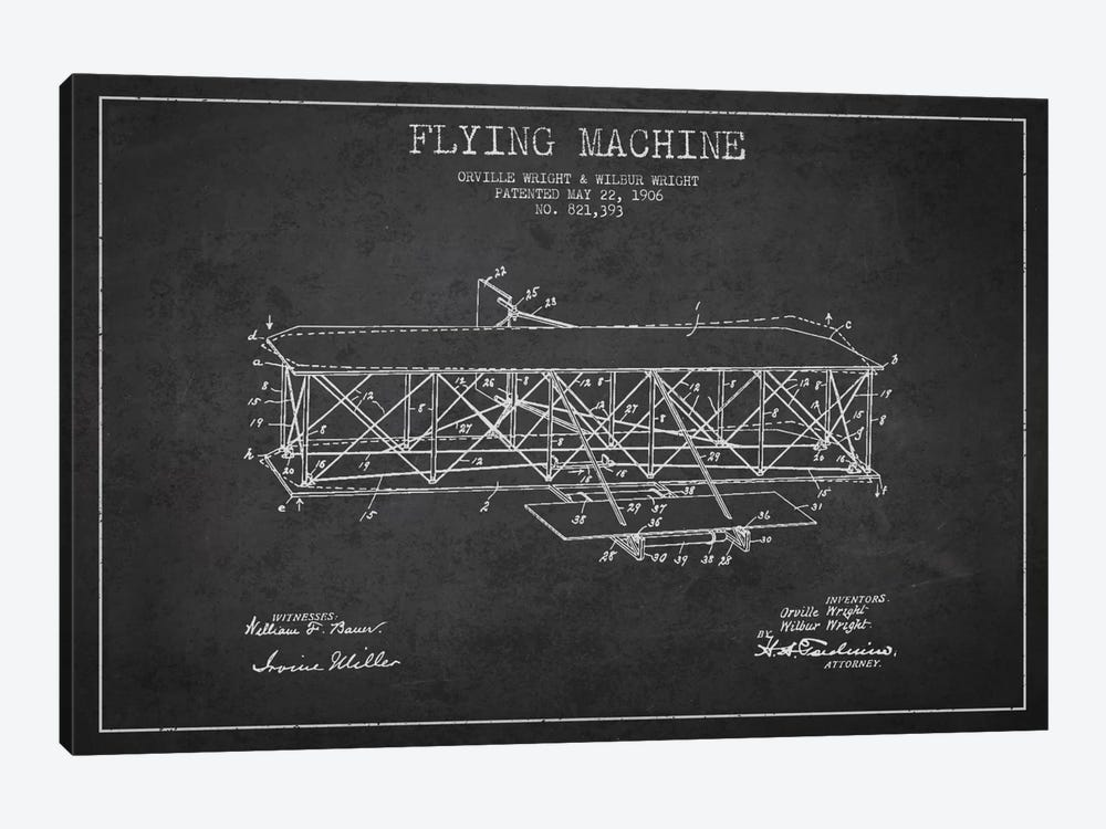Airplane Charcoal Patent Blueprint by Aged Pixel 1-piece Canvas Print