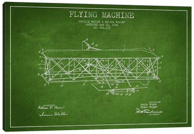 Airplane Green Patent Blueprint Canvas Print #ADP2306