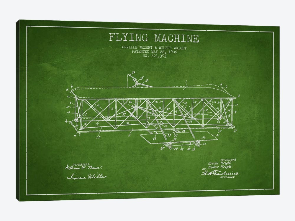 Airplane Green Patent Blueprint by Aged Pixel 1-piece Canvas Wall Art