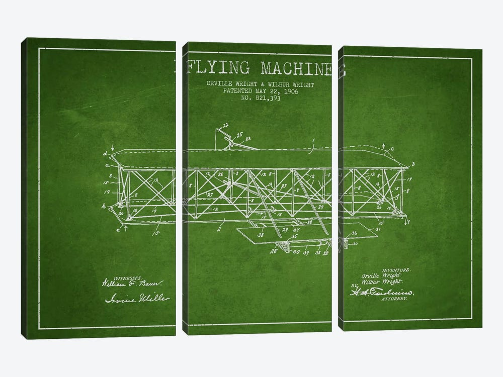Airplane Green Patent Blueprint by Aged Pixel 3-piece Canvas Art