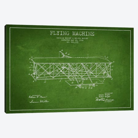 Airplane Green Patent Blueprint Canvas Print #ADP2306} by Aged Pixel Canvas Artwork