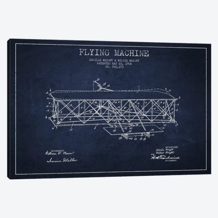 Airplane Navy Blue Patent Blueprint Canvas Print #ADP2307} by Aged Pixel Canvas Wall Art