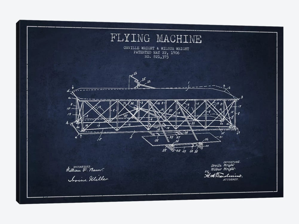 Airplane Navy Blue Patent Blueprint by Aged Pixel 1-piece Art Print