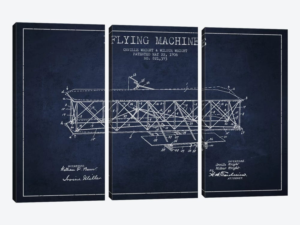 Airplane Navy Blue Patent Blueprint by Aged Pixel 3-piece Art Print