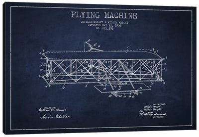 Airplane Navy Blue Patent Blueprint Canvas Art Print