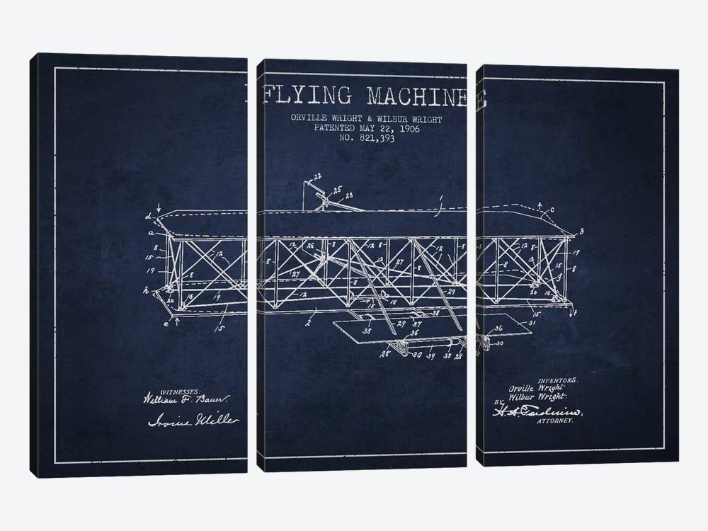 Airplane Navy Blue Patent Blueprint by Aged Pixel 3-piece Art Print