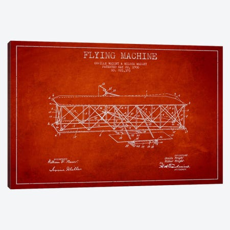 Airplane Red Patent Blueprint Canvas Print #ADP2308} by Aged Pixel Canvas Print