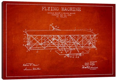 Airplane Red Patent Blueprint Canvas Print #ADP2308
