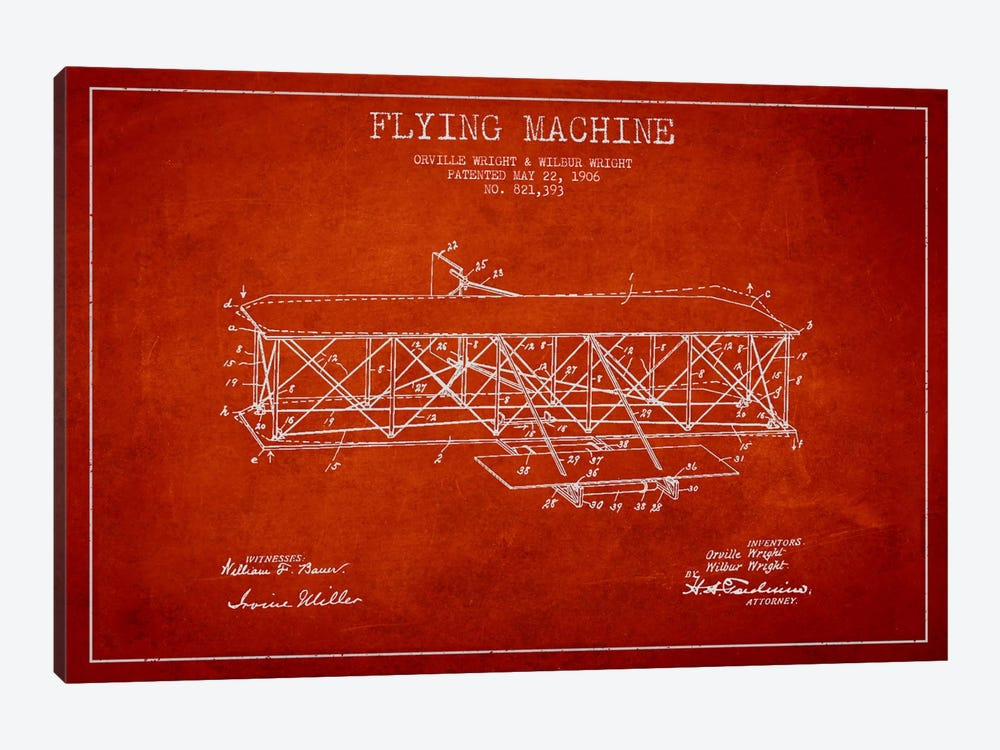 Airplane Red Patent Blueprint by Aged Pixel 1-piece Canvas Artwork