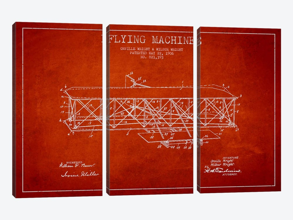Airplane Red Patent Blueprint by Aged Pixel 3-piece Canvas Artwork