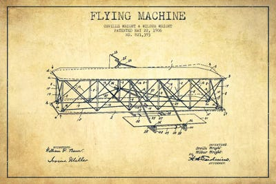 Airplane vintage patent blueprint canvas art by aged pixel icanvas canvas malvernweather Image collections