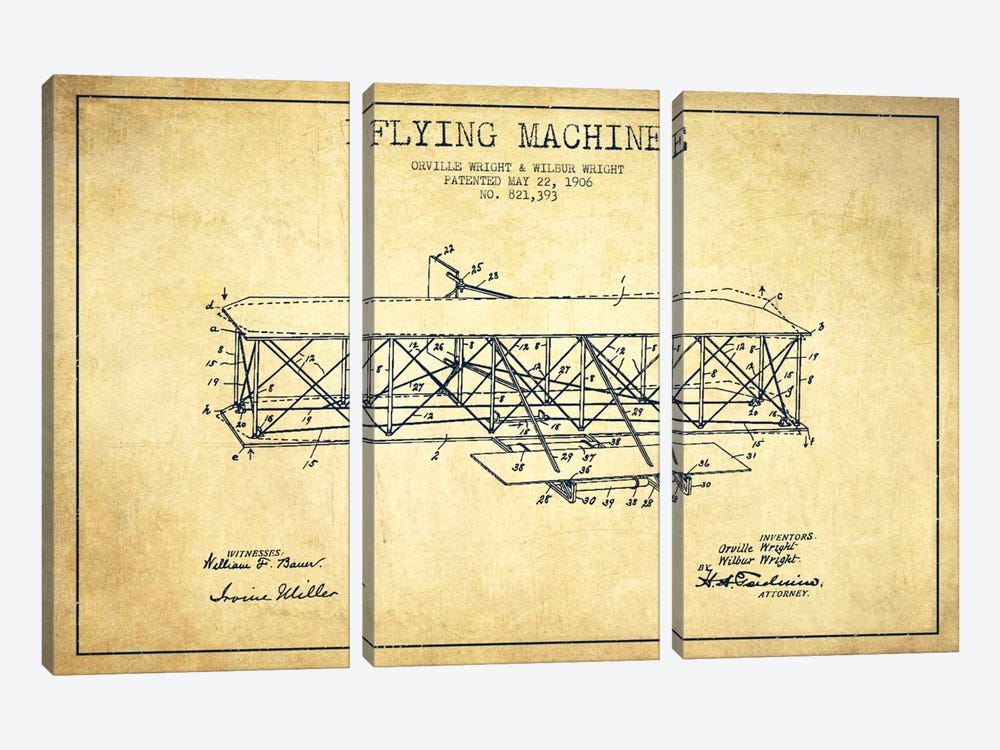 Airplane Vintage Patent Blueprint by Aged Pixel 3-piece Art Print