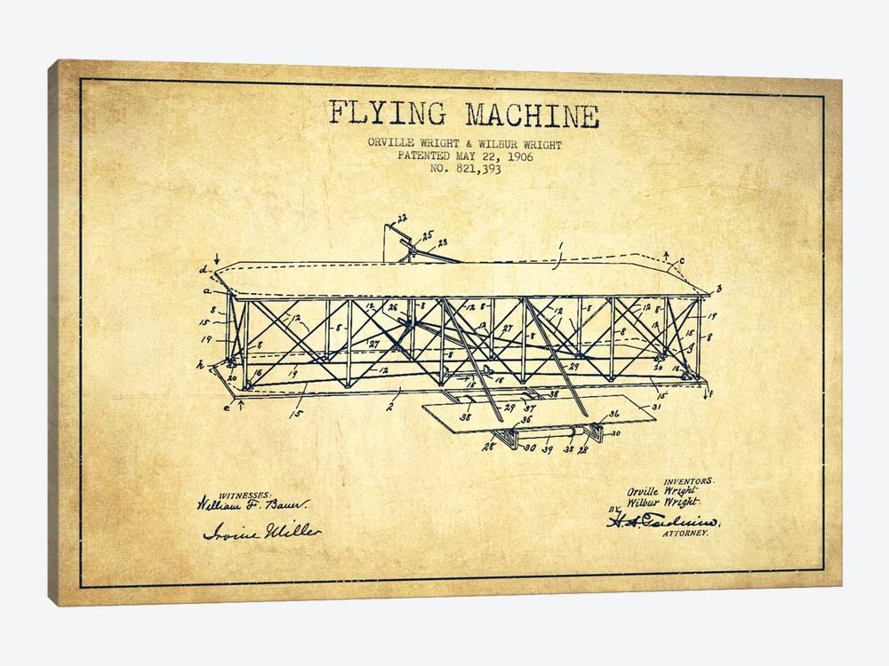 Airplane Vintage Patent Blueprint by Aged Pixel 1-piece Canvas Print