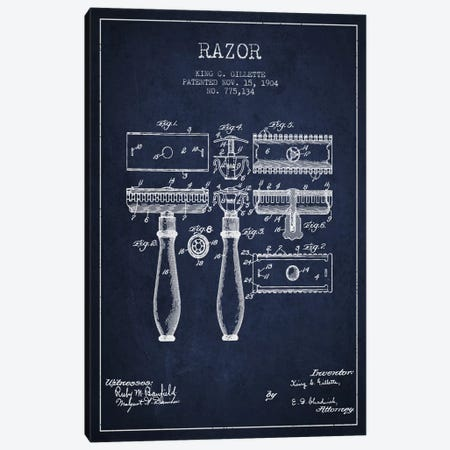 Razor Navy Blue Patent Blueprint Canvas Print #ADP230} by Aged Pixel Canvas Art