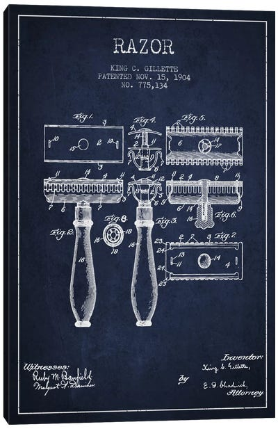 Razor Navy Blue Patent Blueprint Canvas Art Print