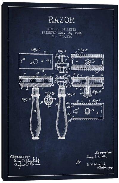 Razor Navy Blue Patent Blueprint Canvas Print #ADP230