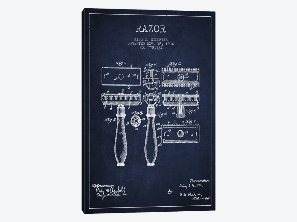 Razor Navy Blue Patent Blueprint by Aged Pixel 1-piece Art Print