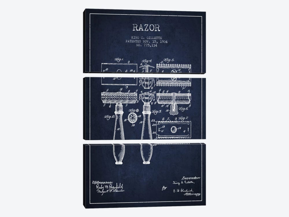 Razor Navy Blue Patent Blueprint by Aged Pixel 3-piece Canvas Art Print