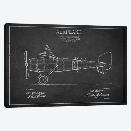 Airplane Charcoal Patent Blueprint Canvas Print #ADP2310} by Aged Pixel Canvas Art