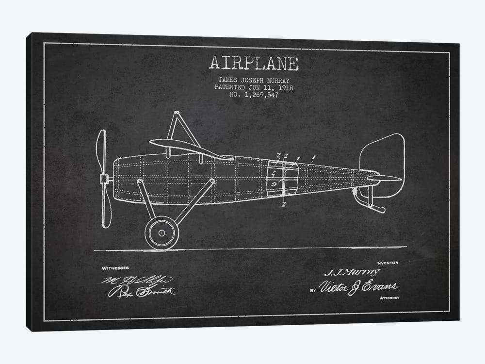 Airplane Charcoal Patent Blueprint by Aged Pixel 1-piece Art Print