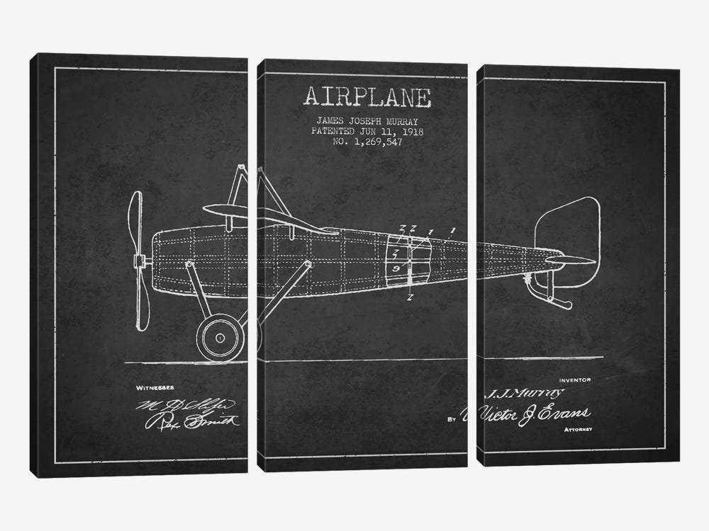Airplane Charcoal Patent Blueprint by Aged Pixel 3-piece Canvas Print